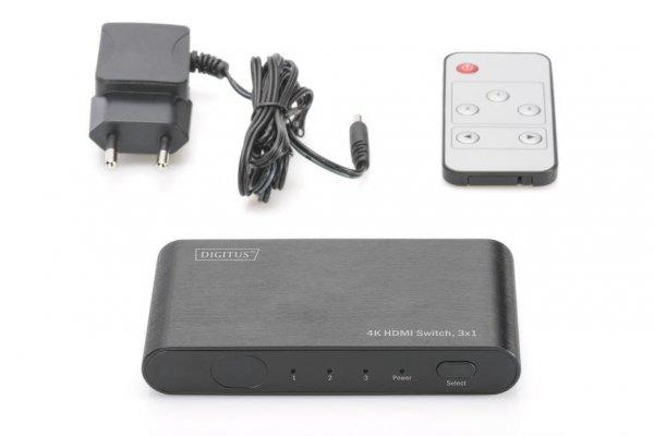 Przełącznik/Switch DIGITUS DS-45316 HDMI 3-portowy 4K 60Hz UHD 3D HDR HDCP 2.2 audio