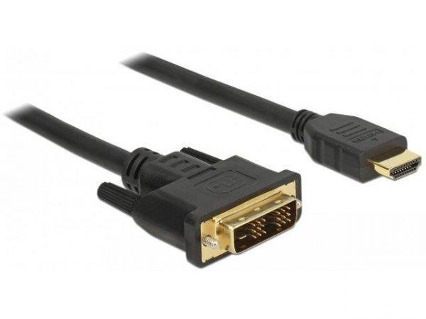 Kabel adapter Delock DVI-D(M)(18+1) - HDMI(M) v1.2 1.5m czarny