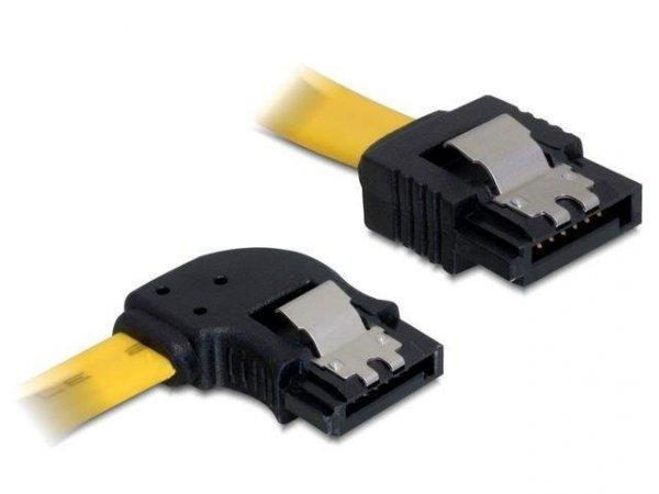 Kabel SATA Delock DATA III 0,3m z zatrzaskami metalowymi kątowy lewo/prosty