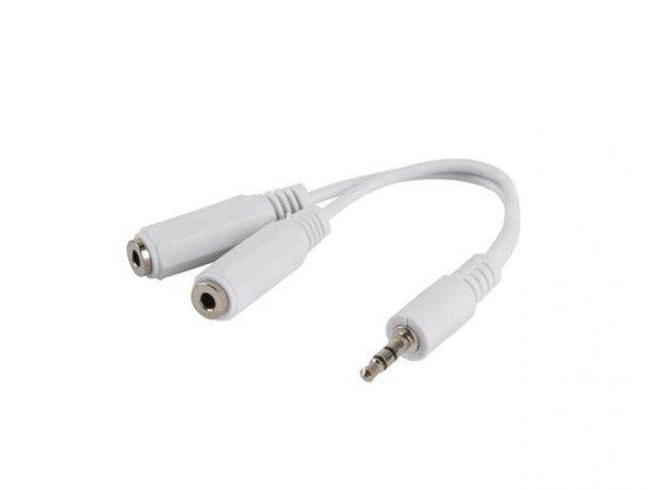Kabel adapter Lanberg Minijack 3,5mm 3-pin (M) -> 2x Minijack 3,5mm 3-pin (F) 0,1m biały