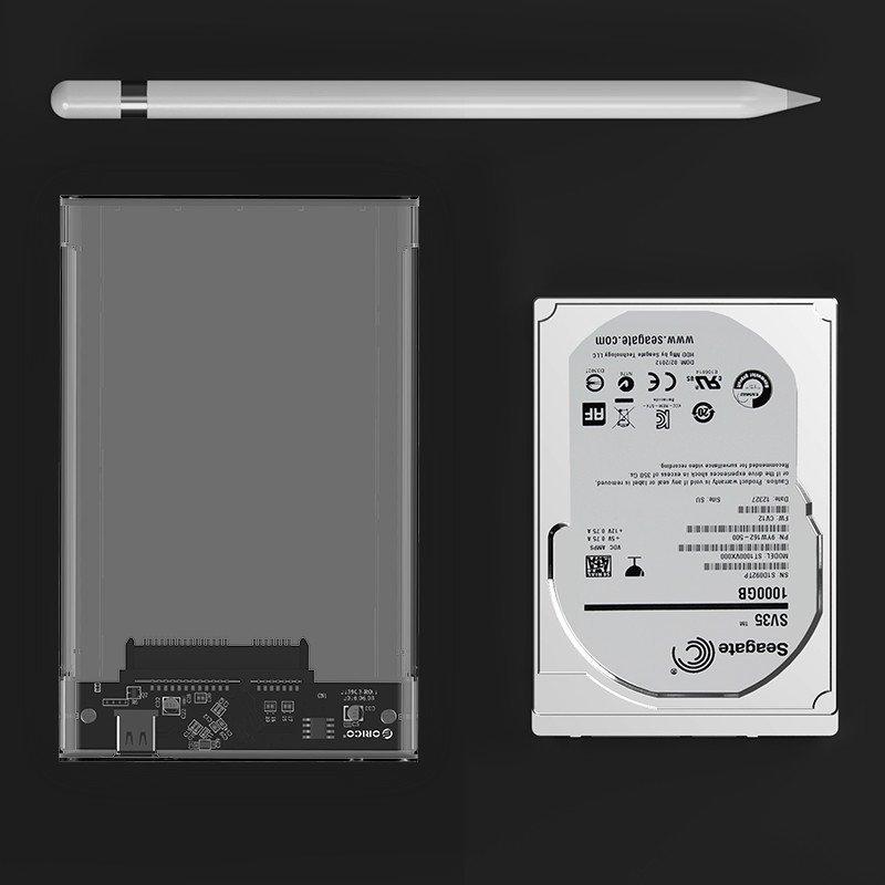 """ORICO KIESZEŃ HDD 2,5"""" SATA USB-3.0 Typ-C PRZEZROCZYSTA"""