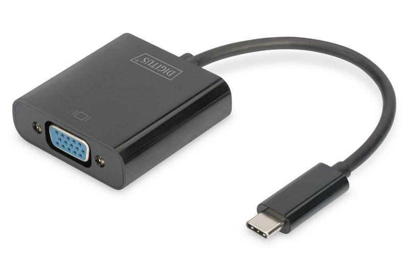 Kabel adapter DIGITUS VGA 1080p FHD na USB 3.1, czarny, 0,15m