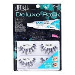 ARDELL Deluxe Pack Wispies Black - zestaw 2 par rzęs z klejem i aplikatorem