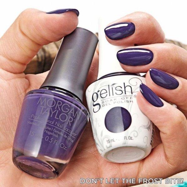 intensywne ciemne fioletowe paznokcie gelish lakier
