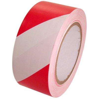 Taśma 70mm x 100m oznaczeniowa biało-czerwona