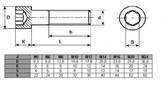 Śruba imbus DIN 912 oc M16x120 - 5 kg