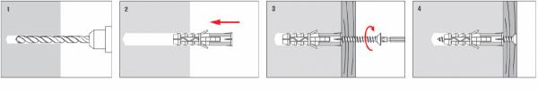 Kołki rozporowe KRX 10x60 z wkrętem 6x80 – 100 szt