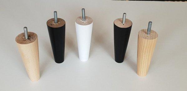 Noga drewniana do mebli 13 B/stożek prosty/biały