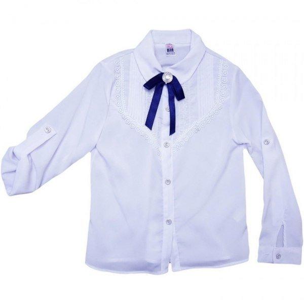 Bluzka dziewczęca biała z długim rękawem 0043