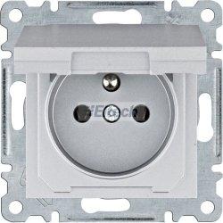 lumina Gniazdo zasilające z uziemieniem i pokrywą, 16 A/250 VAC, srebrny WL1122