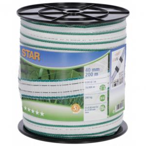 Taśma STAR 200m, 40mm, biało-zielona do pastucha