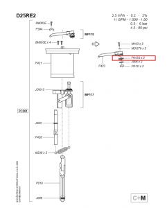 Górny zawór wylotowy do dozownika Dosatron D25RE PO12S