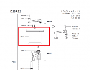 Obudowa tłoka do dozownika Dosatron D25RE P421