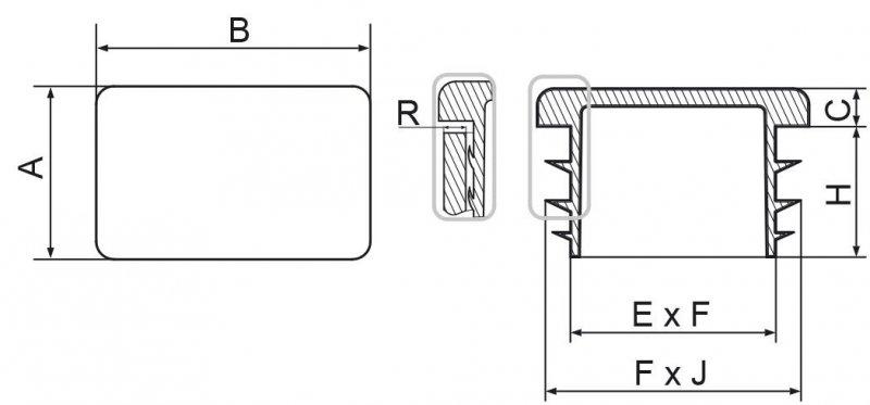 Zaślepki prostokątne 35x50mm - 10 sztuk