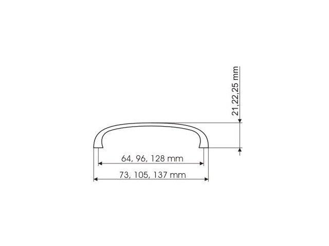 Uchwyt meblowy UN45 96mm - chrom satynowy