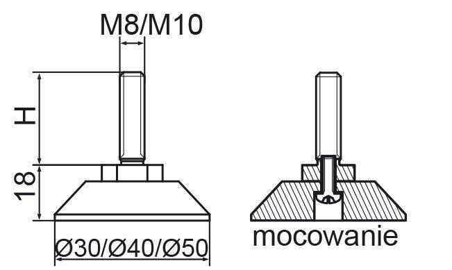 Stopka regulacyjno-obrotowa skręcana fi30 - M8x30 - 4 szt.