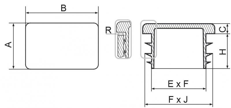 Zaślepki prostokątne 20x60mm - 20 sztuk