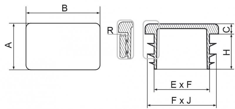 Zaślepka prostokątna 25x80mm - 1 sztuka