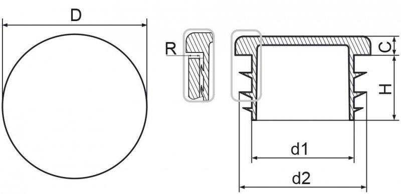 """Zaślepka okrągła calowa 48,3mm (1 1/2"""") ść.4,0 - 100 sztuk"""