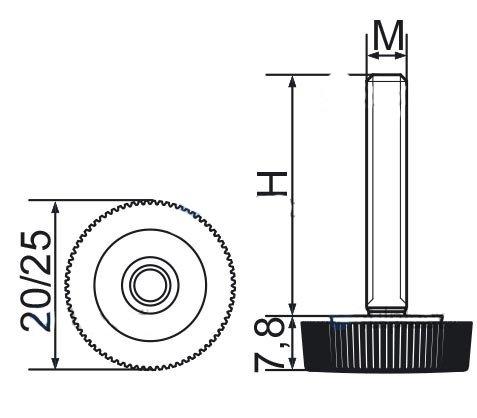 Stopka regulacyjna radełkowa fi20 M6x20 - 100 sztuk