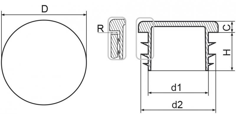 """Zaślepka okrągła calowa 33,7mm (1"""") - 50 sztuk"""