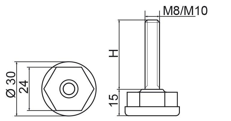Stopka regulacyjna fi30 - M10x25 - 4 szt.