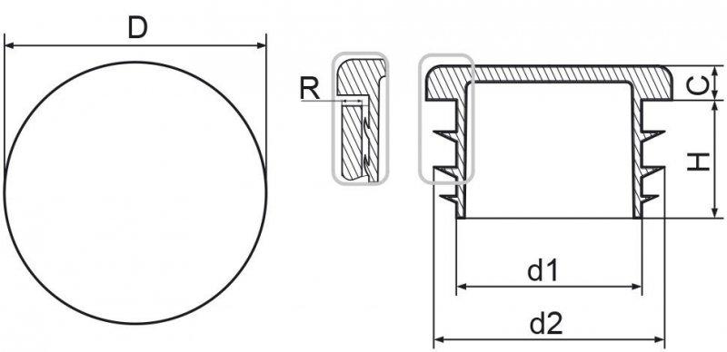 """Zaślepka okrągła calowa 90,2mm (3"""") - 10 sztuk"""