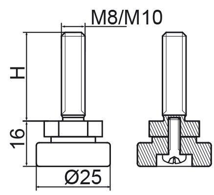 Stopka regulacyjno-obrotowa fi25 - M8x30 - 4 szt.
