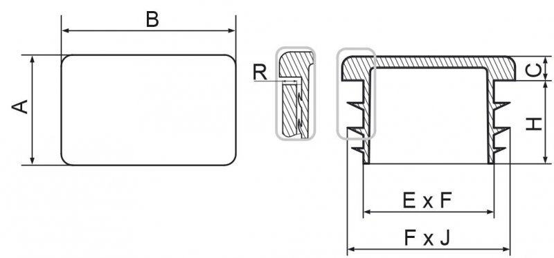 Zaślepki prostokątne 20x30mm - 50 sztuk