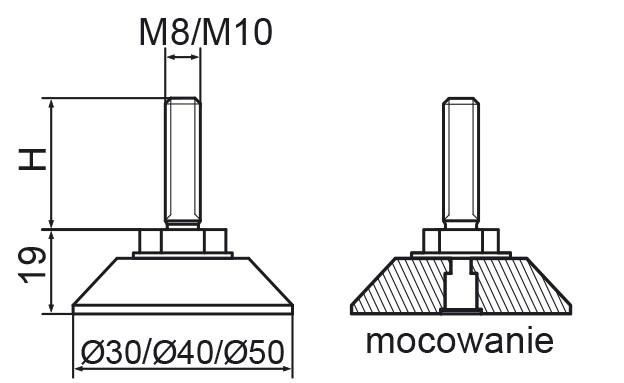 Stopka regulacyjno-obrotowa nitowane fi40 - M10x40 - 4 szt.