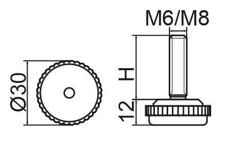 Stopka regulacyjna fi30 - M6x15 - 4 szt.