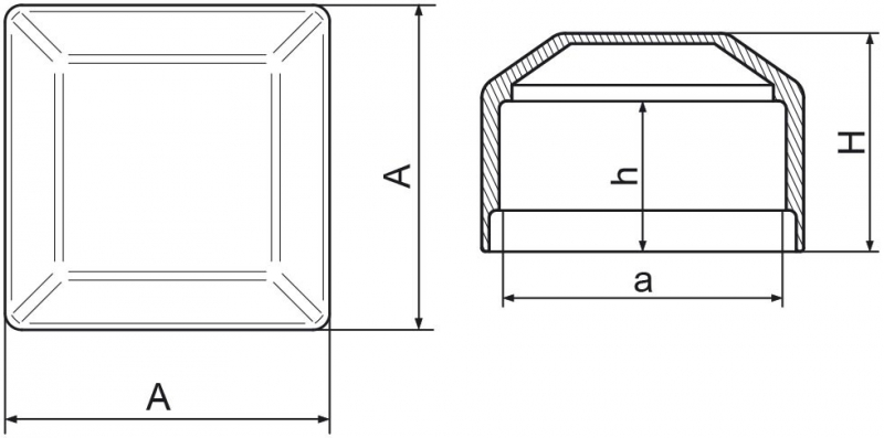 Nasadka na słupek ogrodzeniowy 50x50 mm - 1 sztuka