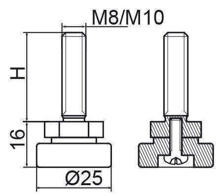 Stopka regulacyjno-obrotowa fi25 - M8x20 - 4 szt.