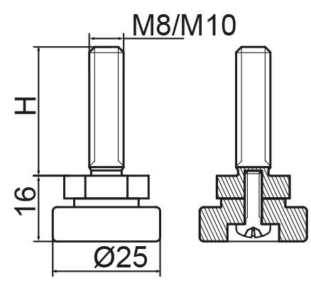 Stopka regulacyjno-obrotowa fi25 - M8x40 - 4 szt.