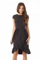 Elegancka sukienka falbaną ED03-3 Black