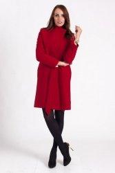 Przytulny płaszcz z paskiem PLA023 Rosso