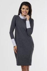 Sukienka dzienna 40-54 dzianinowa K-050 Grafit/Light Gray Melange DUŻE ROZMIARY