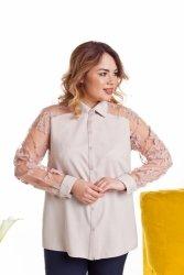 Elegancka damska koszula z dekoracyjną siateczką TR1915 Beige