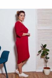 Sukienka dzienna XXL plus size BORDOWA TR1699