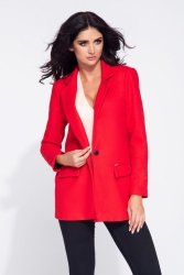 Krótki płaszcz flauszowy damski 275 Red