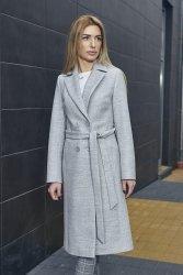 Dwurzędowy wiosenny płaszcz z paskiem Bella PLA036 Melange Grey