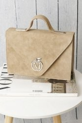 Sztywna torebka teczka MANZANA klasyczna muflon 843E Beige