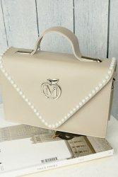 Sztywna torebka teczka perełki 840P Grey