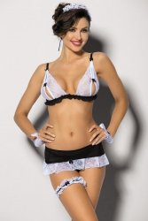 Kostium damski erotyczny M-XXL NATHELLA plus size Black/White