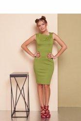 Sukienka z asymetrycznym dekoltem GR1539 Oliwka