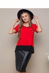 Elegancka bluzka z krepy szyfonowej GR1421 Red