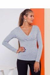 Klasyczny sweter z głębokim dekoltem GR1711 Dark Grey