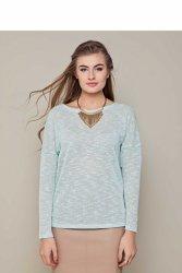 Delikatny sweter o luźnym kroju GR1343 Turkus