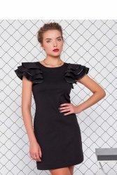 Sukienka z trykotażu i dżerseju GR1233 Black
