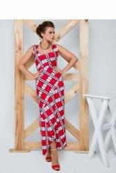 Długa sukienka o dopasowanym kroju GR1186 Red